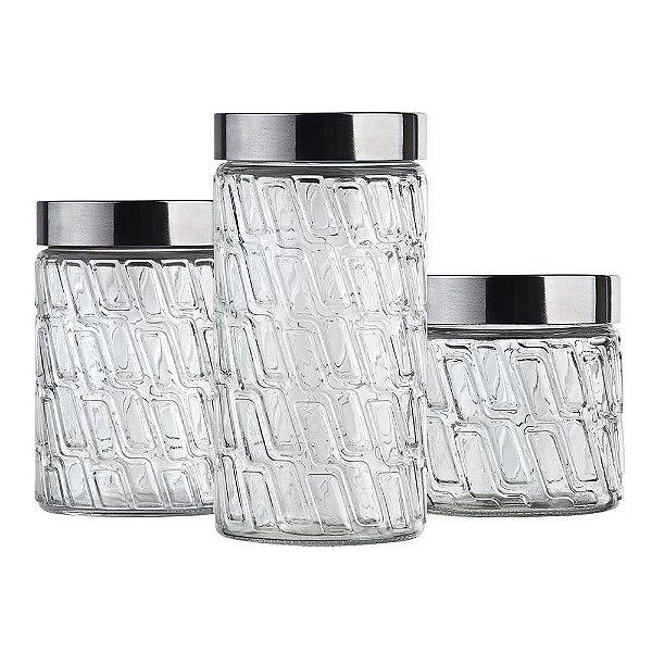 Conjunto de Potes de Vidro Mosaico com Tampa - 3 peças