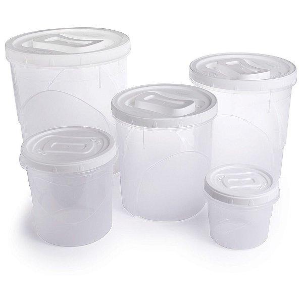 Conjunto de Potes para Mantimentos - 5 Peças - Plasútil