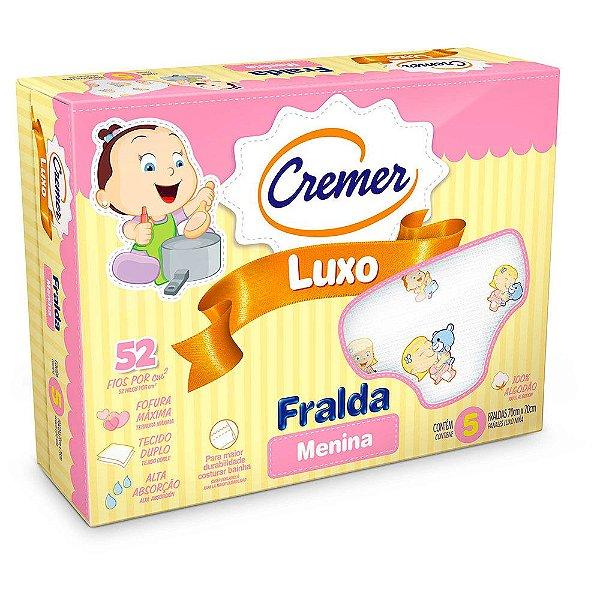 Fralda Luxo Estampada Menina - 5 unidades - Cremer