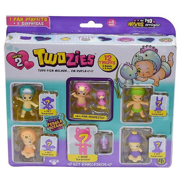 Twozies Kit com 12 itens - Patti e Pinklee - Série 2 - DTC
