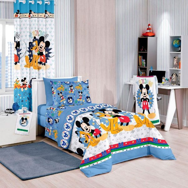 Edredom Disney Solteiro - Mickey Friends - Santista