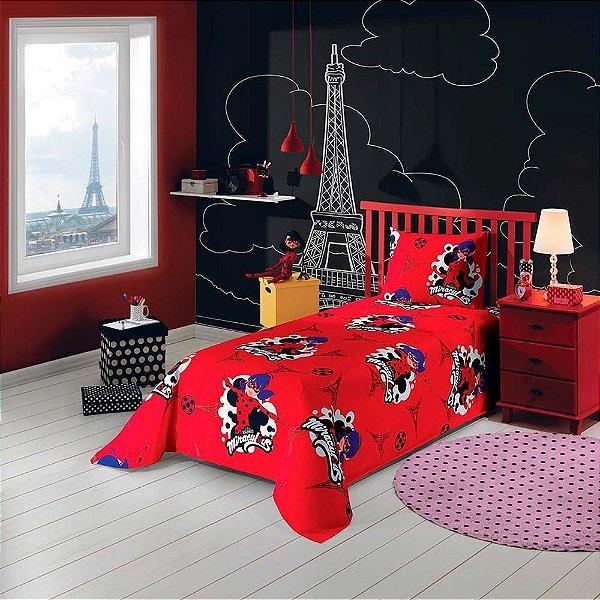 Jogo de Cama Solteiro Ladybug - Vermelho - Lepper Kids