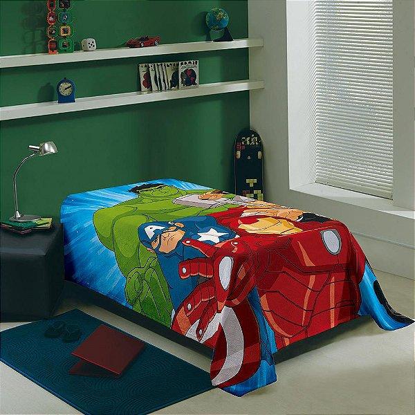 Manta Fleece Solteiro Infantil - Os Vingadores - Lepper