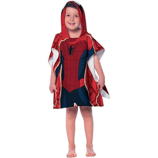 Toalha Poncho Aveludada com Capuz - Homem-Aranha - Lepper