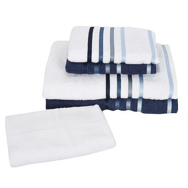Jogo de Toalhas Lúmina - 5 peças - Azul e Branco - Karsten