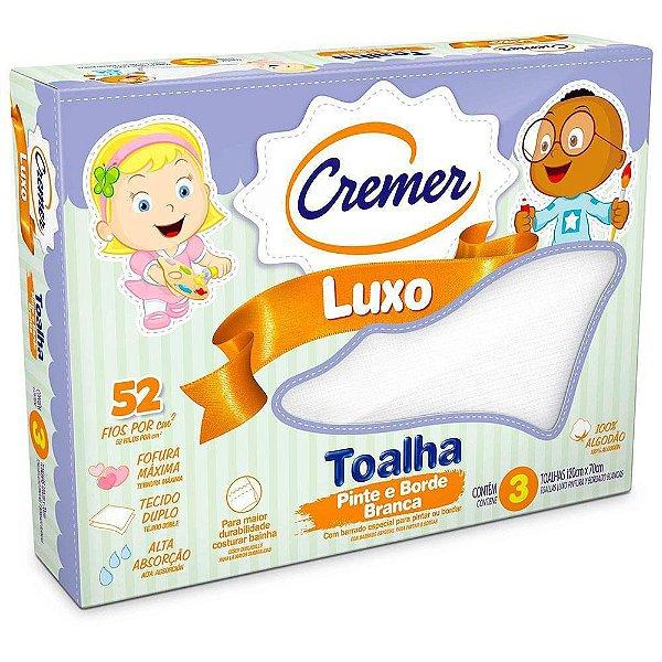 Toalha Luxo Pinte e Borde Branca - 3 unidades - Cremer