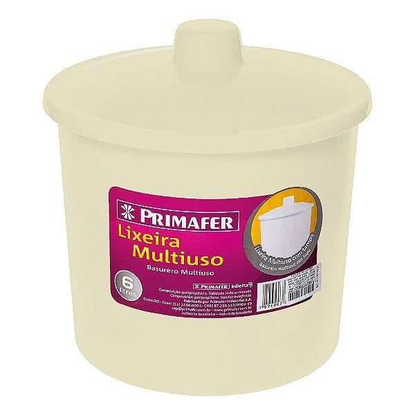 Lixeira Redonda Multiuso Bege 6L - Primafer