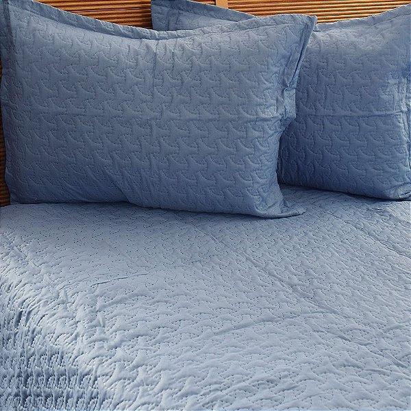 Kit Colcha Matelada Queen Color Art Azul - Corttex