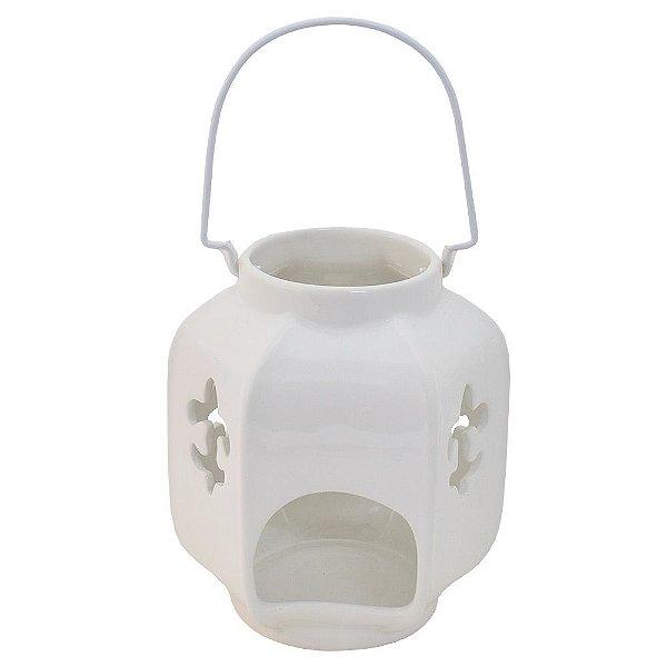 Lanterna Decorativa de Cerâmica Branca - BTC