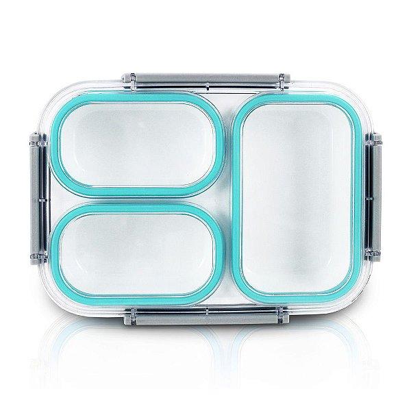 Pote Para Marmita 1350ml - 3 Compartimentos - Azul - Jacki Design