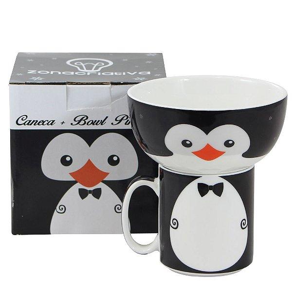 Kit de Caneca e Bowl Pinguim - Zona Criativa