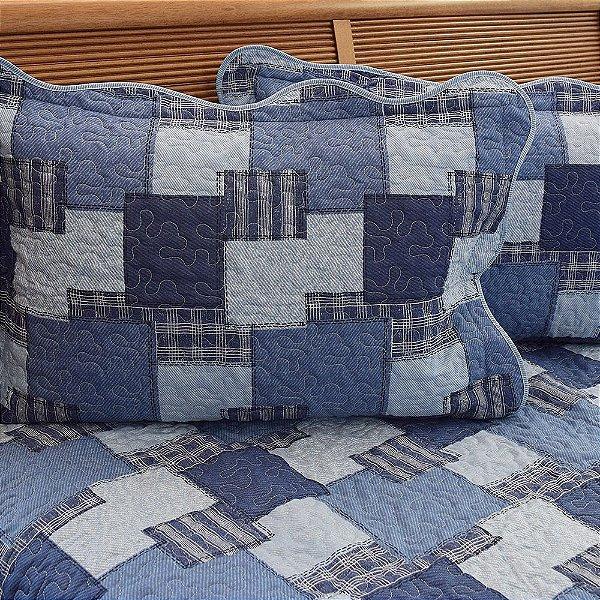 Kit Colcha Boutis Casal Jeans Azul - Santista