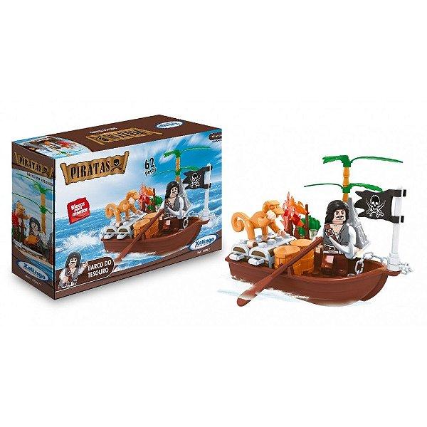 Blocos de Encaixe Piratas - Barco do Tesouro - 62 Peças - Xalingo