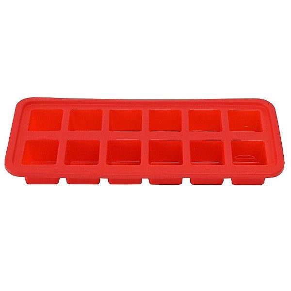 Forma de Gelo Quadrado Vermelha - Ou
