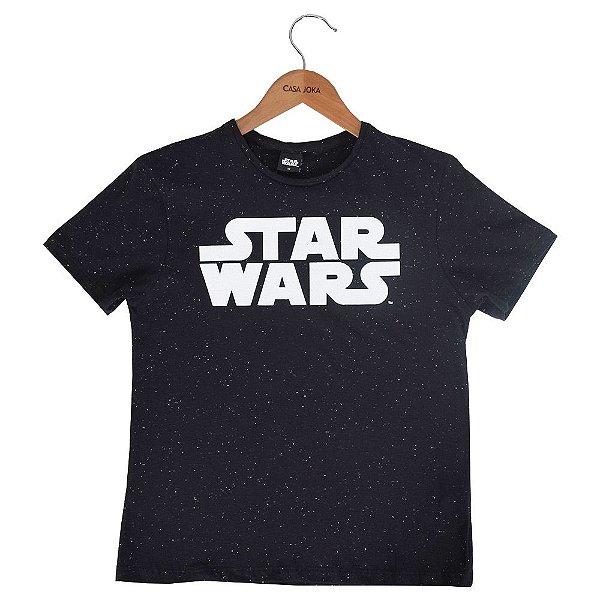 Camiseta Infantil Masculina Star Wars Preta - Fakini