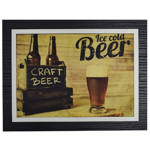 Quadro Decorativo Ice Cold Beer Craft - 30 x 23 cm
