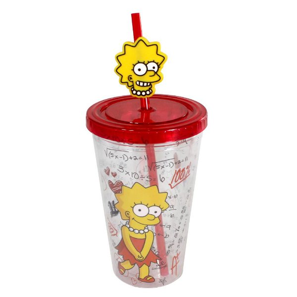 Copo Canudo 500ml - Lisa Simpson - The Simpsons - Zona Criativa