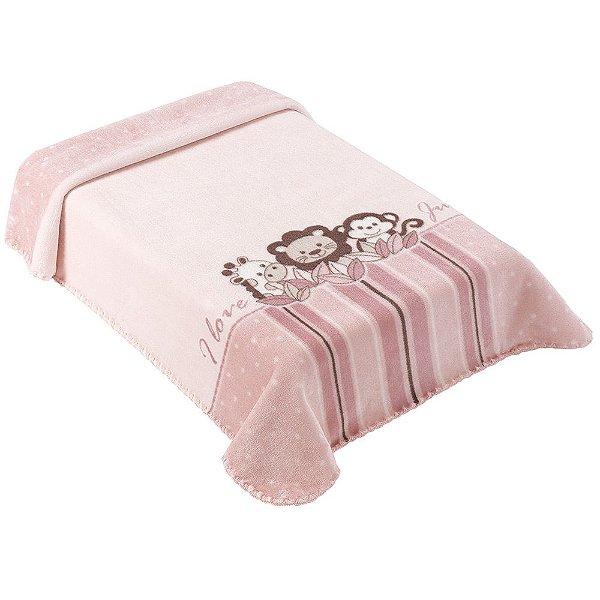 Cobertor para Berço Le Petit Jungle Rosa - Colibri
