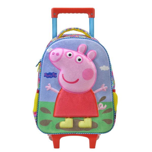 """Mochila de Carrinho Peppa Pig 3D 16"""" - Xeryus"""