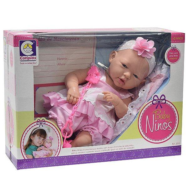 Boneca Baby Ninos - Poá Rosa - Cotiplás