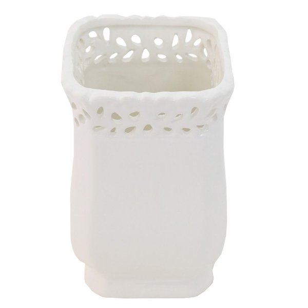 Cachepot Decorativo em Cerâmica Branco Pequeno