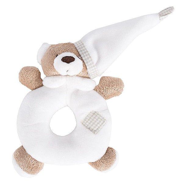 Chocalho de Pelúcia Ursinho Branco - Zip Toys