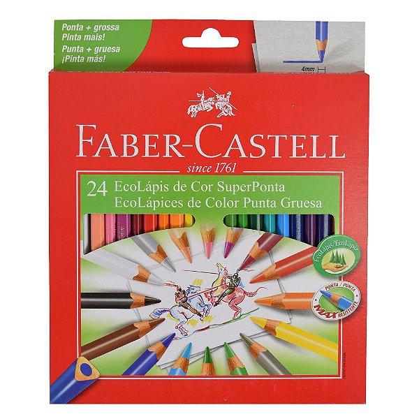 Lápis de Cor Triangular Faber Castell - Super Ponta - 24 cores