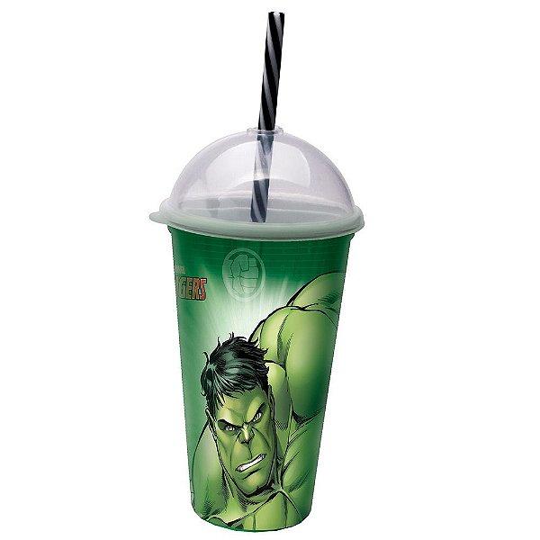 Copo com Canudo Hulk - 500 ml - Plasútil