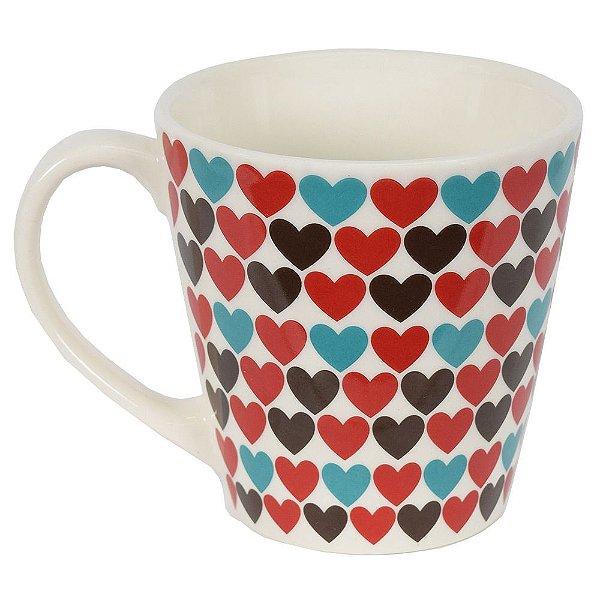 Caneca de Cerâmica - Amor - Corações - Yoi