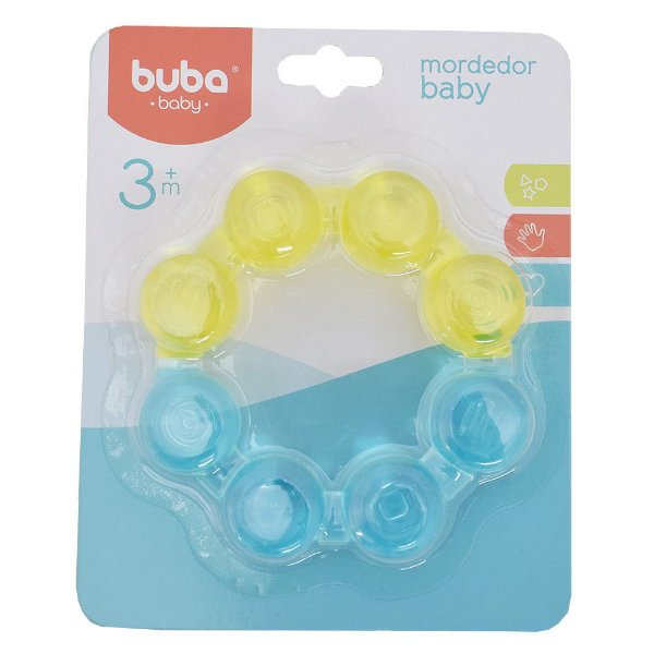 Mordedor Baby Argola com Água - Amarelo e Azul - Buba