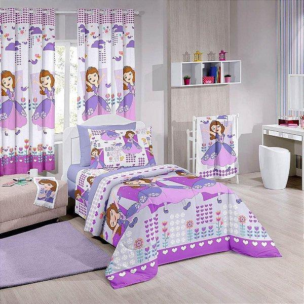 Edredom Disney Solteiro - Princesa Sofia - Santista