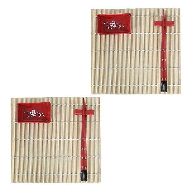 Conjunto Para Comida Japonesa 2 Pessoas - Vermelho - 8 peças