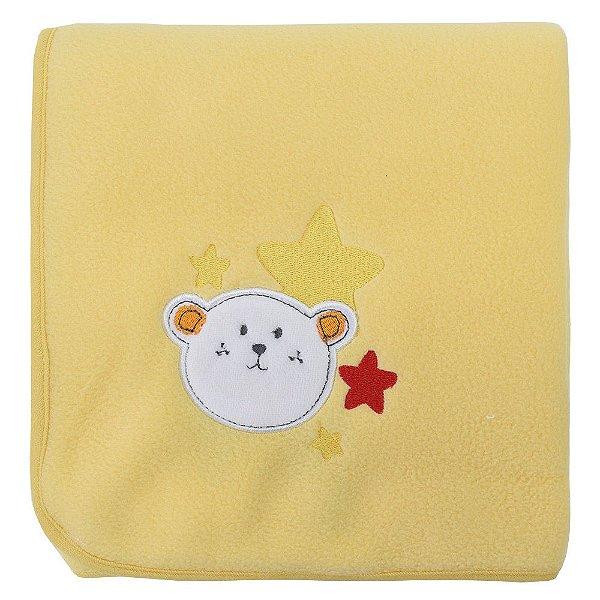 Manta Fleece Amarela com Bordado - Mini Colorê - Lepper