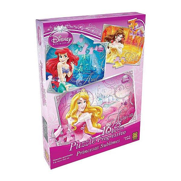 Quebra-Cabeça Progressivo Princesas da Disney - 16, 25 e 49 peças - Grow