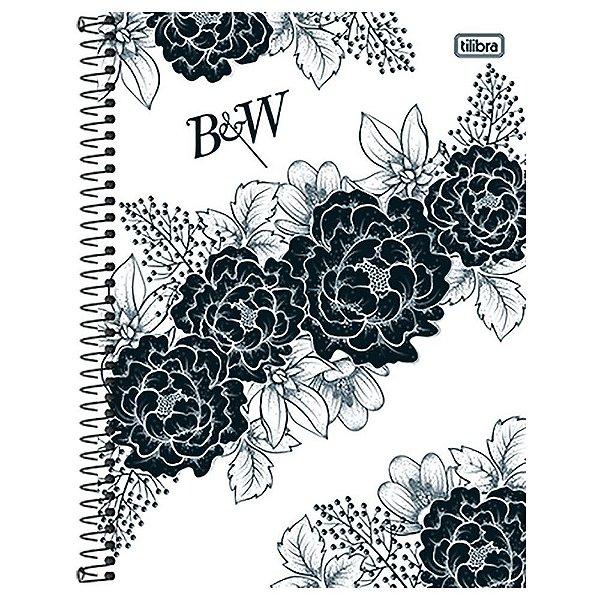 Caderno B&W - Flores Pretas - 10 matérias - Tilibra