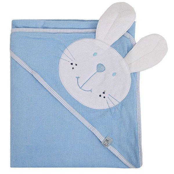 Toalha de Banho com Capuz Coelhinho Azul - Bicho Molhado