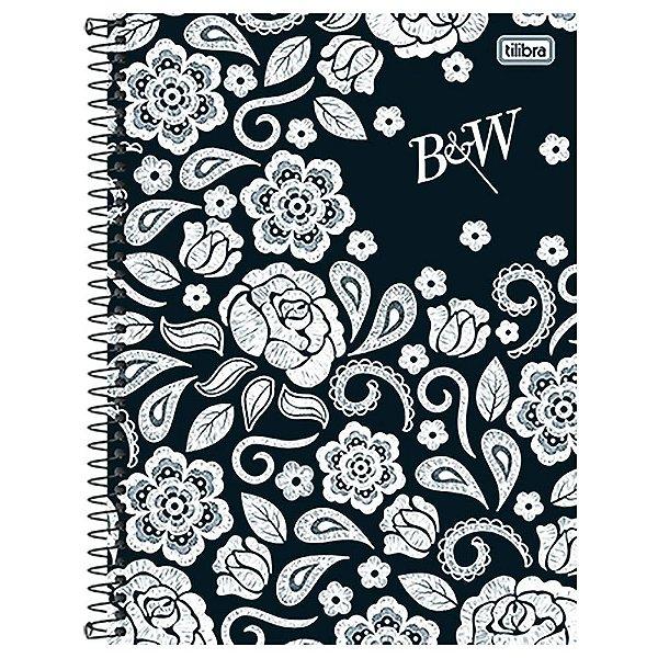 Caderno B&W - Flores Brancas - 10 matérias - Tilibra