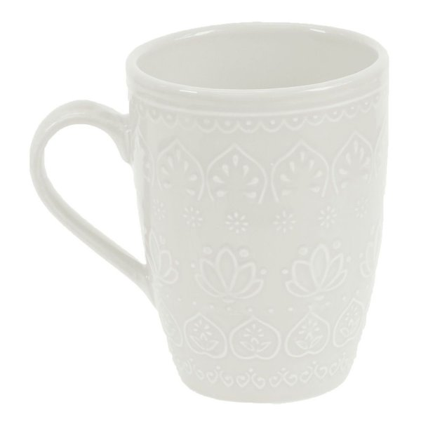 Caneca Corona Relieve 306ml Branca - Yoi