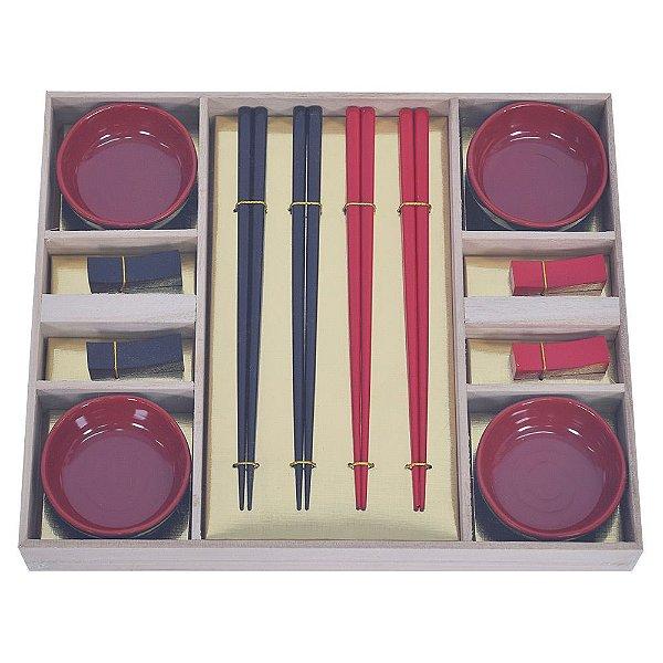 Conjunto para Comida Japonesa - Vermelho - 12 peças