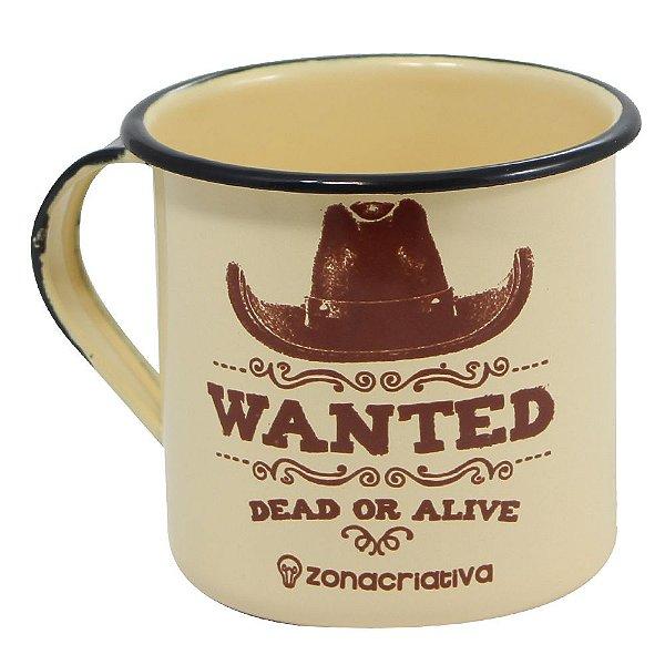 Caneca Esmaltada 400ml - Wanted Dead Or Alive - Zona Criativa