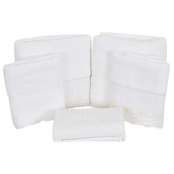 Jogo de Banho Versalhes - 5 Peças - Branco e Marfim - São Carlos