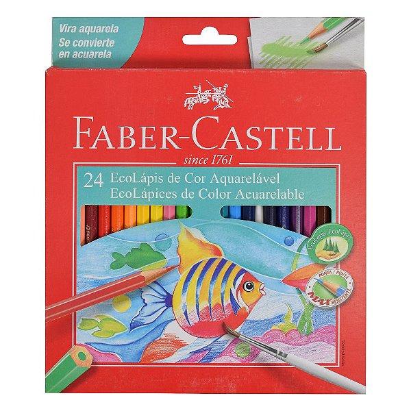 Lápis de Cor Sextavado Aquarelável Faber Castell - 24 cores