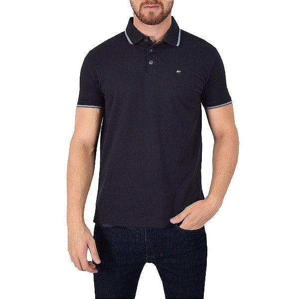 Camisa Polo Básica Preta/Azul - Ellus