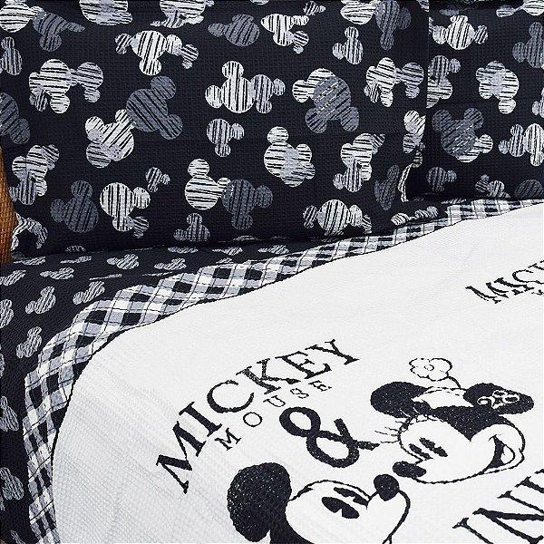 Kit Colcha Piquet Casal Mickey e Minnie - Dohler