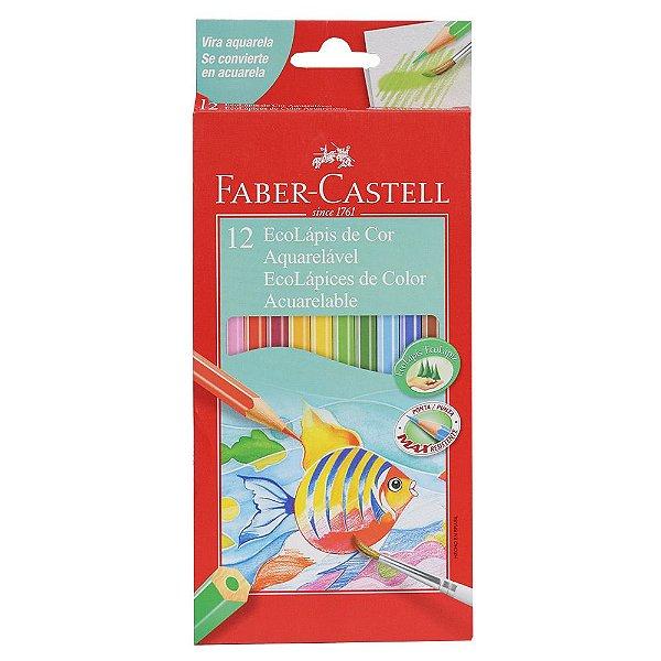 Lápis de Cor Sextavado Aquarelável Faber Castell - 12 cores