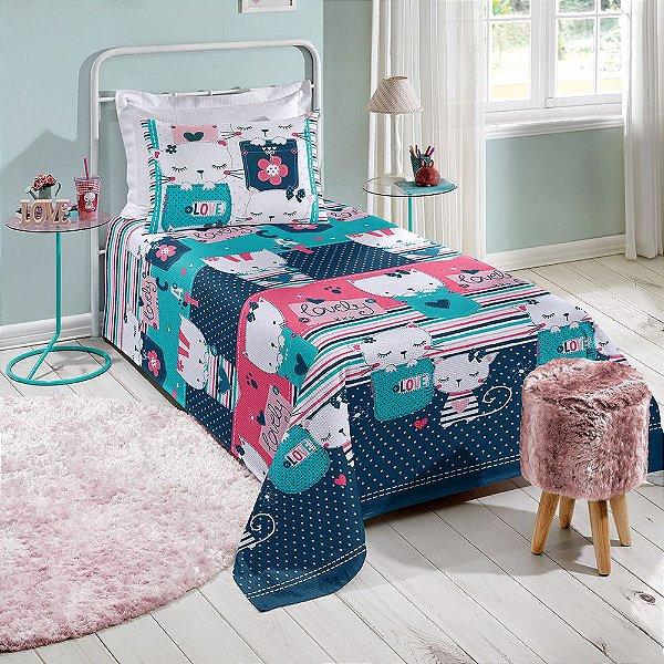 Colcha Solteiro Infantil Piquet Decorativa - Katty - Santista