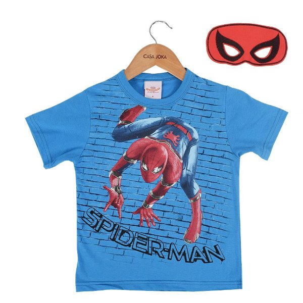Camiseta Infantil Masculina Homem Aranha com Máscara - Brandili