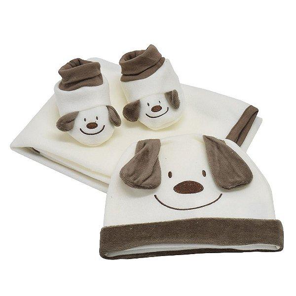 Kit Bebê - Cobertor + Touca + Pantufa - Tip Top