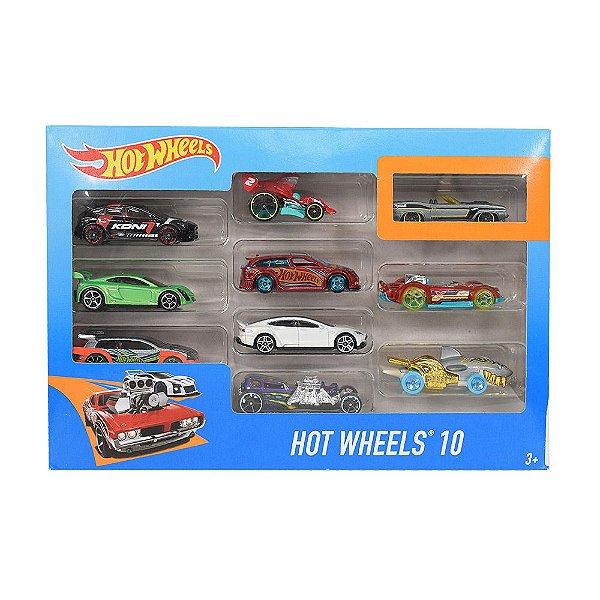 Hot Wheels Pacote 10 Carros - Tubarão - Mattel