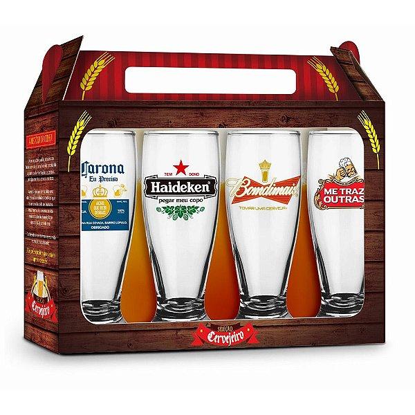 Conjunto Copos Munich Seleção Cervejeiro - 4 peças - Brasfoot